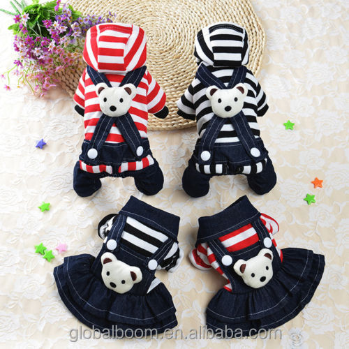 Hot-style pet dogs clothes pet striped jeans dress with bear winter dressing for female and male dogs