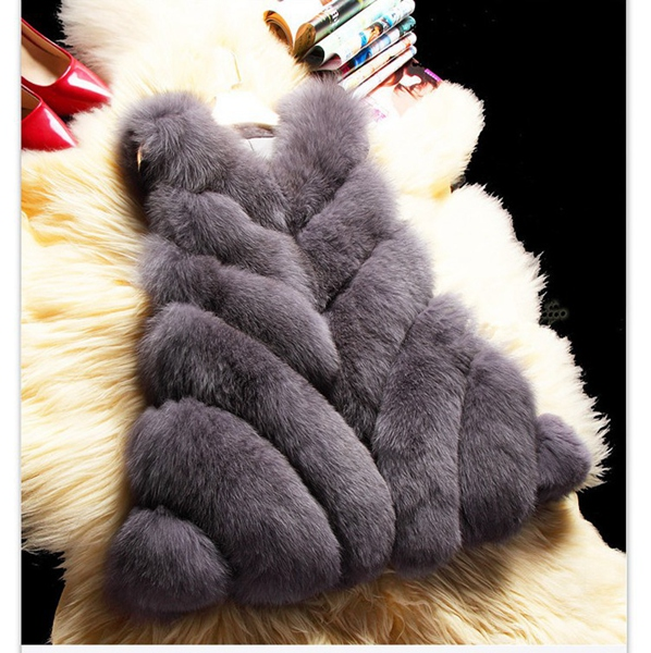 Women fashion silver fox fur vest