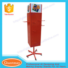 Custom best-selling 4 sides pegboard floor rotating metal display stand units with hooks