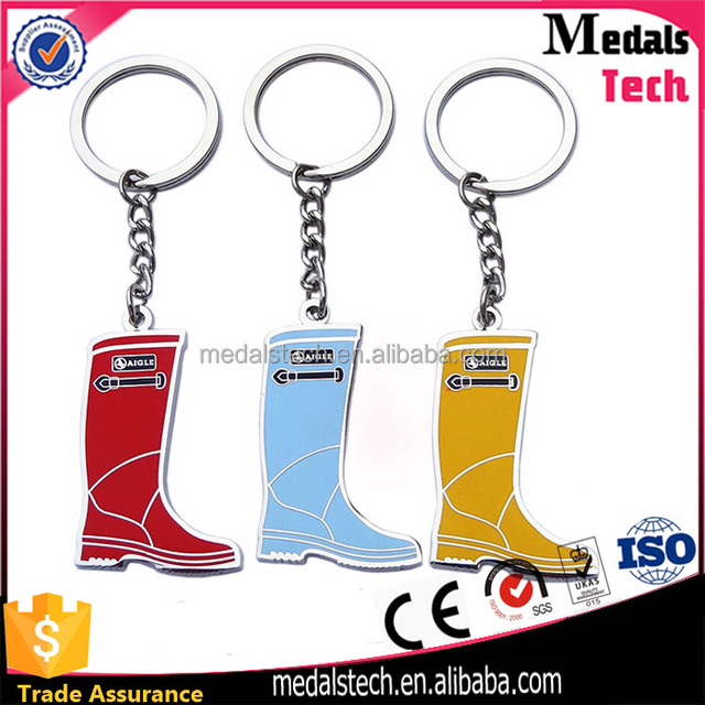 Professional factory wholesale cheap cute top quantity Rainbow boots shape metal keychain