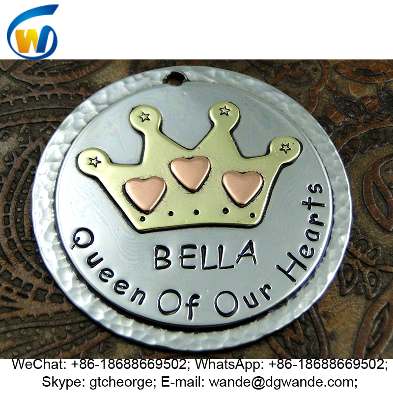 custom metal pet id tags with crown