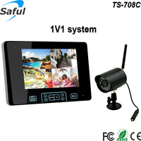 "Saful 2.4GHZ 7""TFT-LCD touch key wireless camera and dvr with motion detection recording"