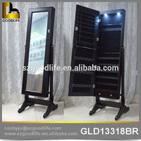 dressing mirror with wood standing jewellery mirror cabinet