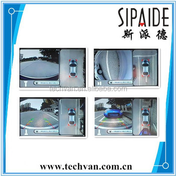Security Universal Car Reverse Parking System 360 degree Panoramic View With 4 View Angle Cameras