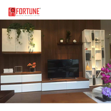 l shaped modern led lcd tv hall cabinet, wooden tv media wall cabinet with showcase design in living room