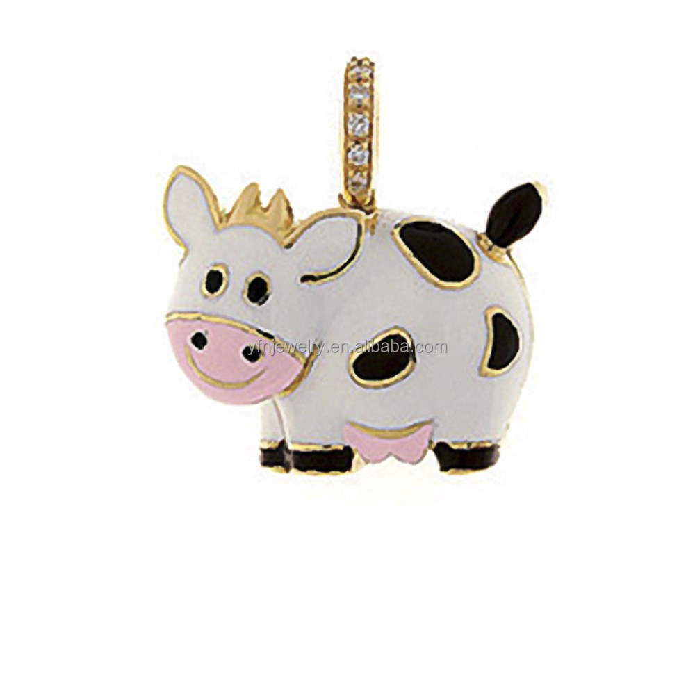 Fashion Sterling Silver 18K Gold Enamel Animal Cow Charms Bead