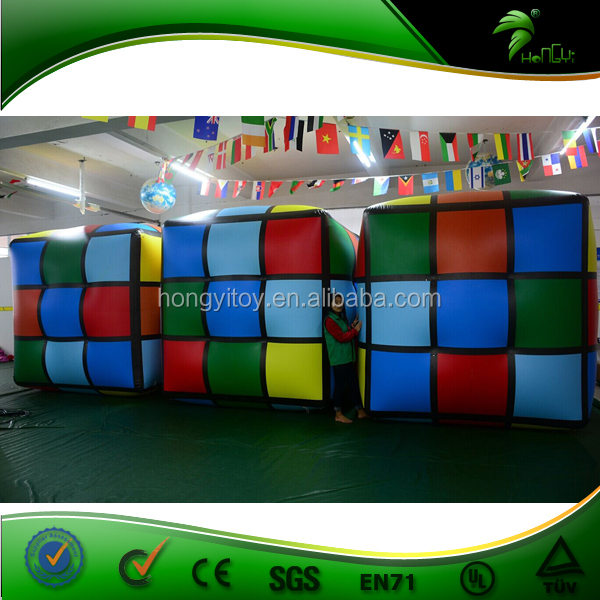 Advertising 2m Inflatable Magic Puzzle Cube / Customize PVC Air Sealed Inflatable Rubik's Cube