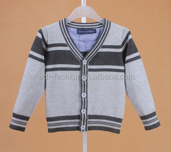 wholesale hand knitted button down stripe knit baby cardigan sweater