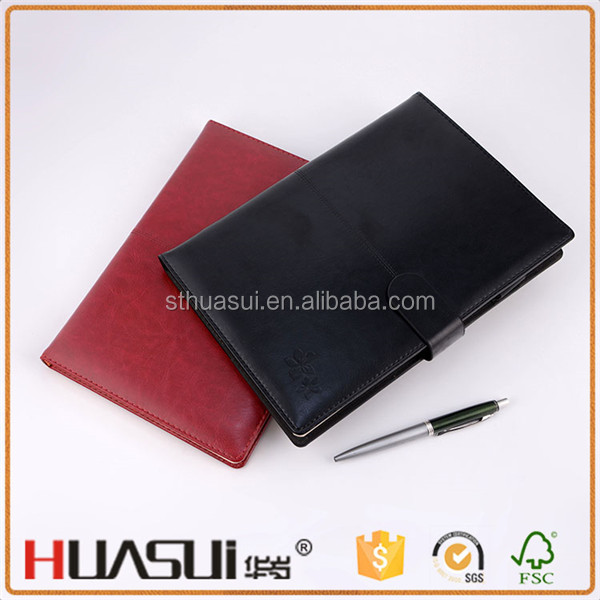 Pu leather cover magnet close business notebook with pen