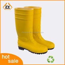 Yellow waterproof safety shoes for unisex with steel toe pvc transparent work safety rain boots