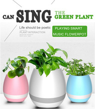 2017 wholesale Leaf Touch Bluetooth Speaker Music Flower Pots Smart ABS Music Flower Planter