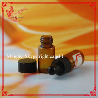 amber glass vial with plastic screw cap dropper bottle for essence