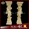 Hand Carving Natural Stone Column With Lady Statue