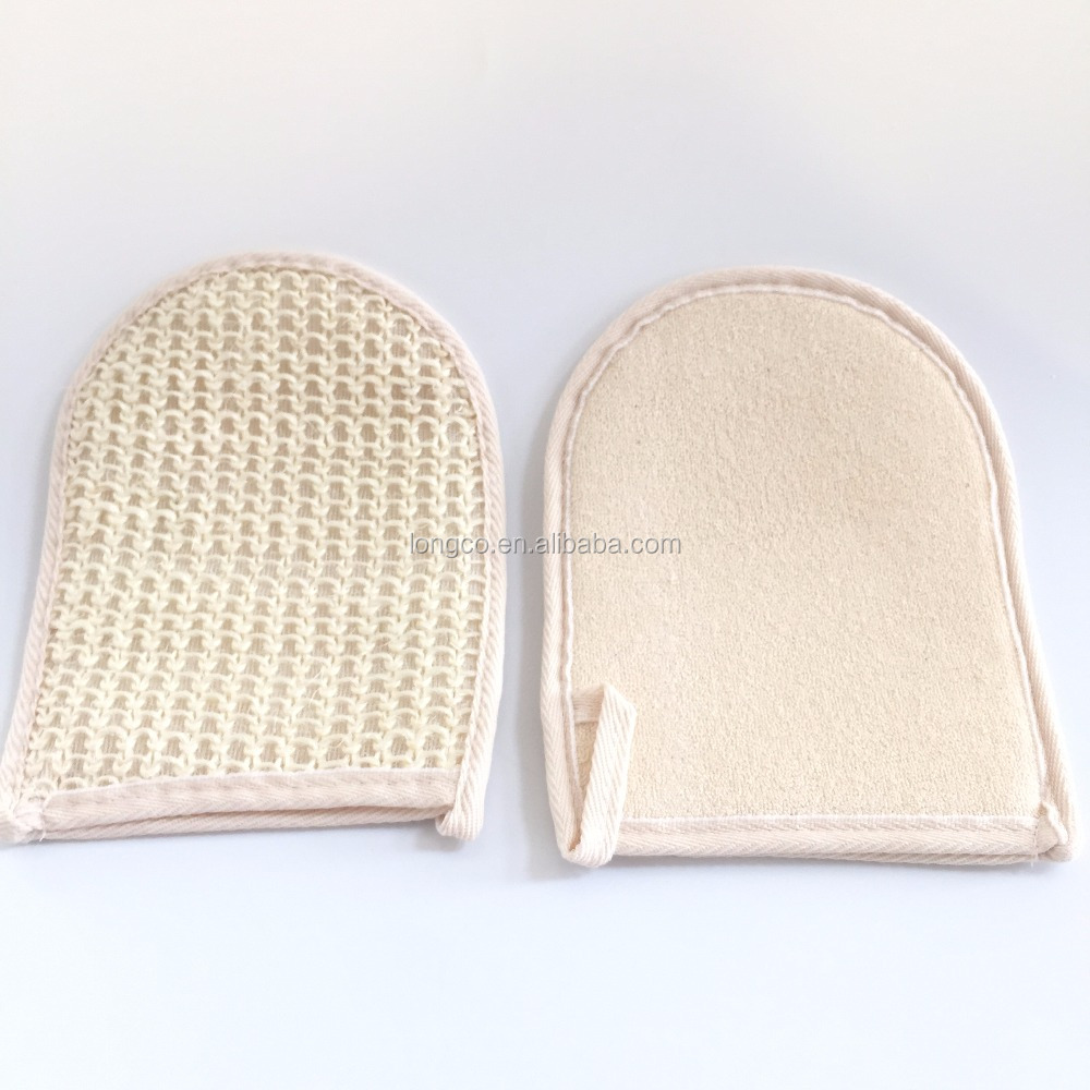 Natural sisal and 100% cotton terry bath gloves