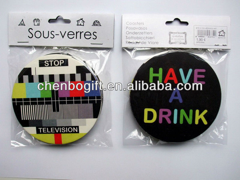 Custom paper drink cup mat drink coaster, paper board coaster