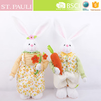 easter spring series 24 inch extendable standing white fabric easter rabbit decoration easter bunny soft toys with carrot flower