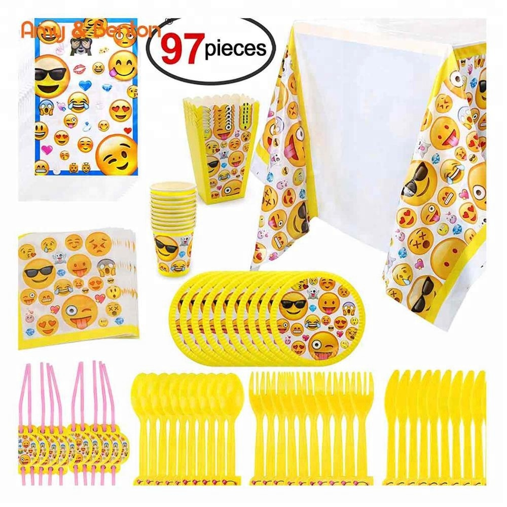 New Products Emoji Birthday Party Decorations Supplies Kids Set For Wholesale