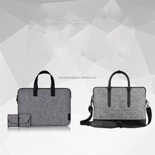 2017 most popular polyester felt pad bag and laptop sleeve with leather cover for office men and business high quality