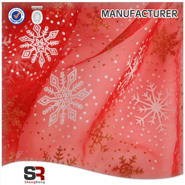 Snowflake pattern fancy color organza fabric for christmas deco