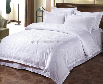 Cheap 300T carded cotton jacquard bedding fabric for making hotel bedsheet