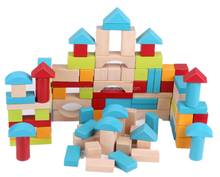 Wooden Blocks-100pc Wooden Building Block Set with Carrying Container - 100% Real Wood
