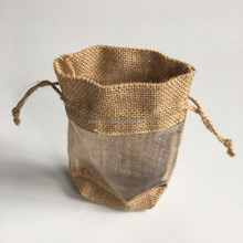 Jute fabric drawstring single wine beer bottle bag with clear PVC window