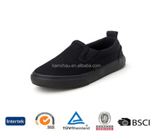 Beautiful stylish design black slip on without laces flossy wedge canvas plimsolls shoes for ladies