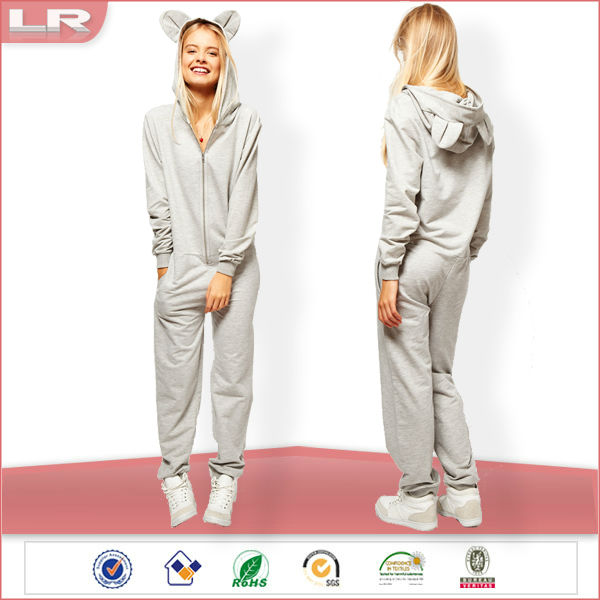OEM Plus Size Cheap Hooded Grey Plain Adult Couple Onesie