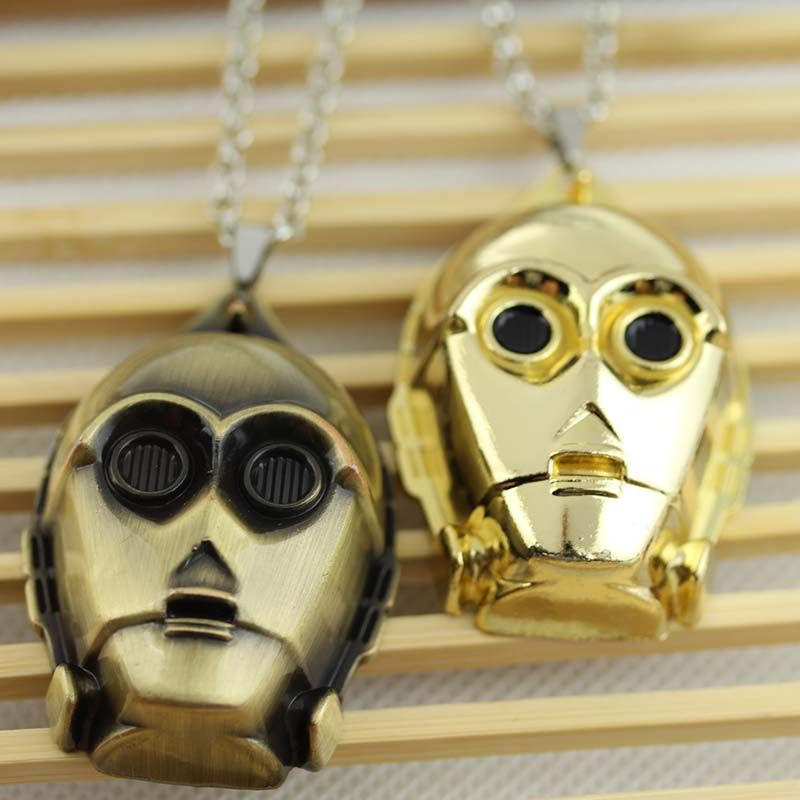 Movie Jewelry Pendant Robot Gold bronze Plated Pendant Necklace KN-65