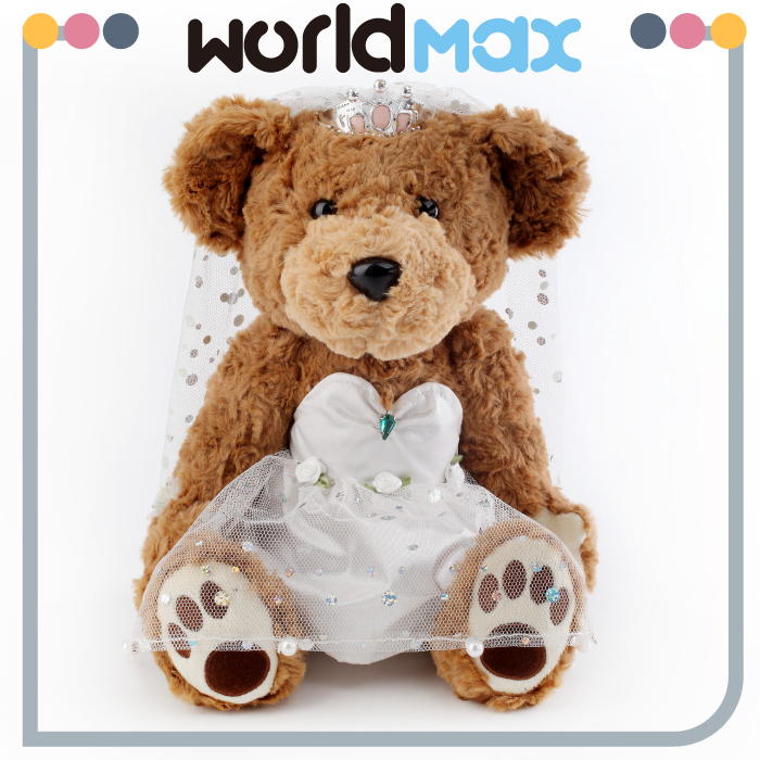 Bride & Groom Couple Wedding Dress Plush Teddy Bear Stuffed Soft Toys