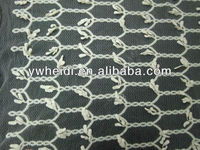 hole mesh with leaf pendant trim pattern 3D white lace fabric