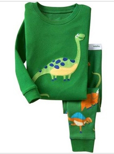 New! green boys pajamas cute night dress 100% cotton pajamas