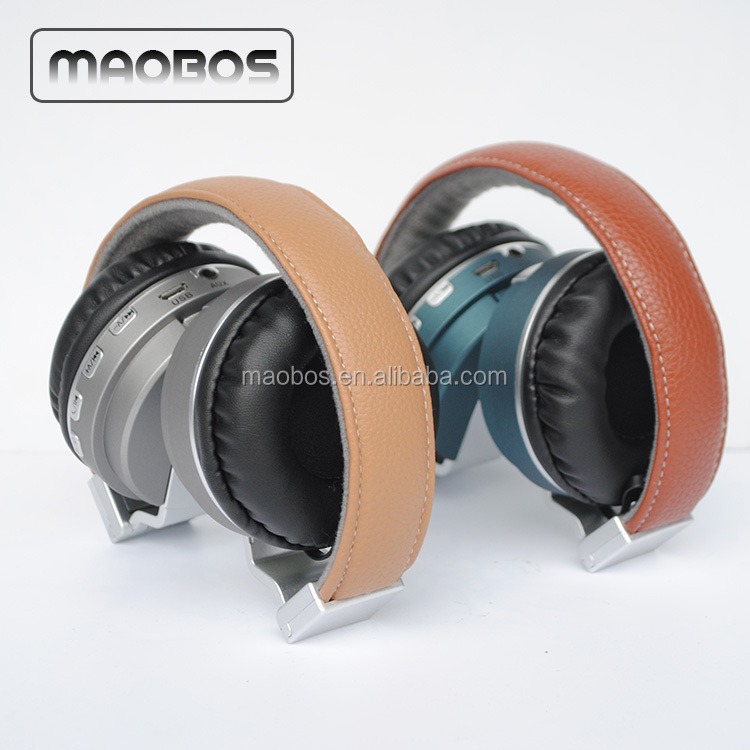 Top quality bluetooth 4.1 leather foldable Headphone with mic