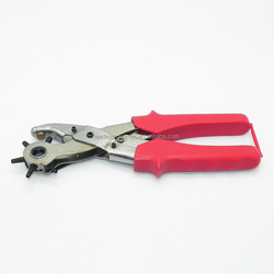 Holes hand-operated Puncher Steel & PVC Red Belt Hole Puncher Carbon Multifunction Portable craft paper hole