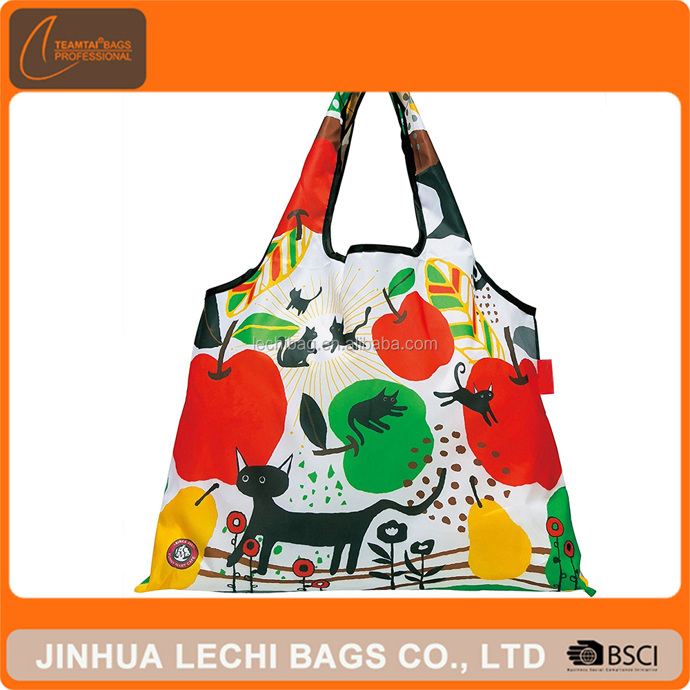 Top Selling Colorful Polyester Tote Foldable Reusable Folding Shopping Bag