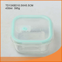 Best selling rectangle 430ml glass food container for super market