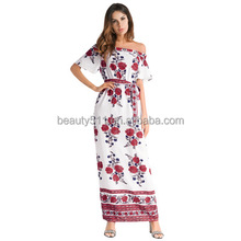 Hot sale in dress Tắt Shoulder backless bãi biển sexy full-length dress