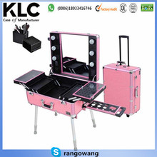 Make up case with lights Rolling Studio Makeup Artist Cosmetic Case w/ Light Leg Mirror Pink Train Table