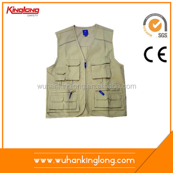 100%Cotton workwear vest with many pockets fishing clothing with no sleeves