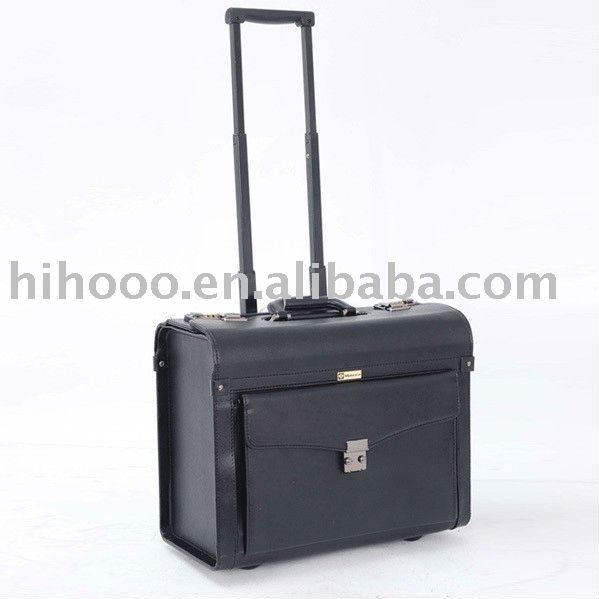 Leather Business Wheeled Pilot Trolley Case