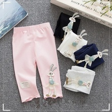 B21295A Summer Girls' cotton leggings lovely cartoon rabbits trousers