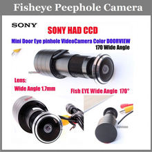 Cheap Security Sony Ccd 700Tvl 12V Surveillance peep hole camera With 1.7mm Fish eye Lens