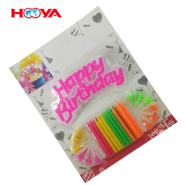 24 pcs colorful birthday candles and 12 pcs plastic candle holders