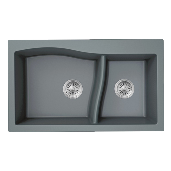 cheap double bowl quartz kitchen sink