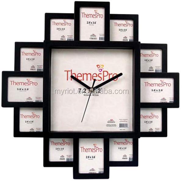 Plastic modern decor wall photo frame with clock