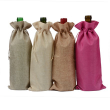 15 cm by 35 cm linen wine bottle bag with drawstring