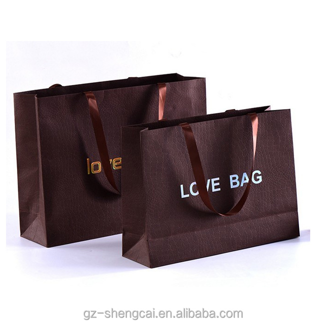Factory 10% Discount on sale brown texture chocolate color paper bag with brown ribbon