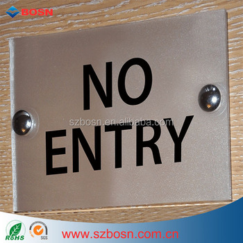 No Entry Office Acrylic Door Sign/ Acrylic Effect Glass Wall Plaque/House Number Sign Holder