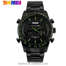 Skmei Black Oversize Military Stainless Steel strap Men Sport Gift Quartz Men Watch