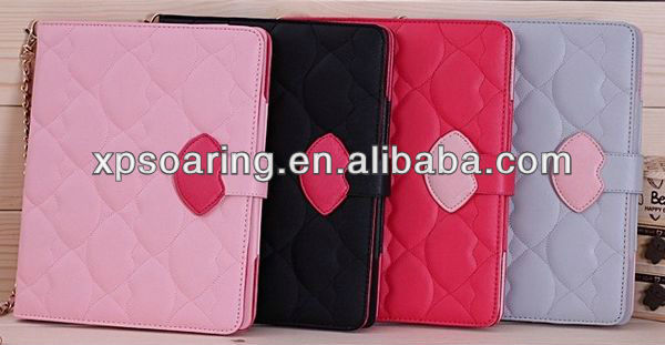 Fancy Lips wallet leather case pouch for ipad 2 ipad 3